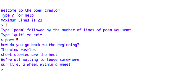 Python Found Poem Generator Introduction I James Laurie You can choose one of the sample sets of words and sentence patterns or you can enter your own words and sentence patterns. python found poem generator